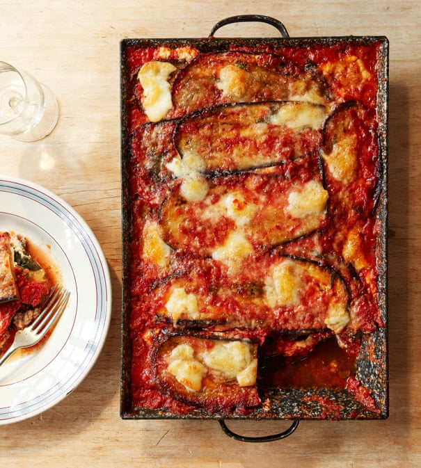 Thomasina Miers' recipe for aubergine parmigiana with spinach and ricotta